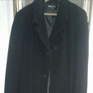 DKNY Coats: Classic Long Black Wool Coat